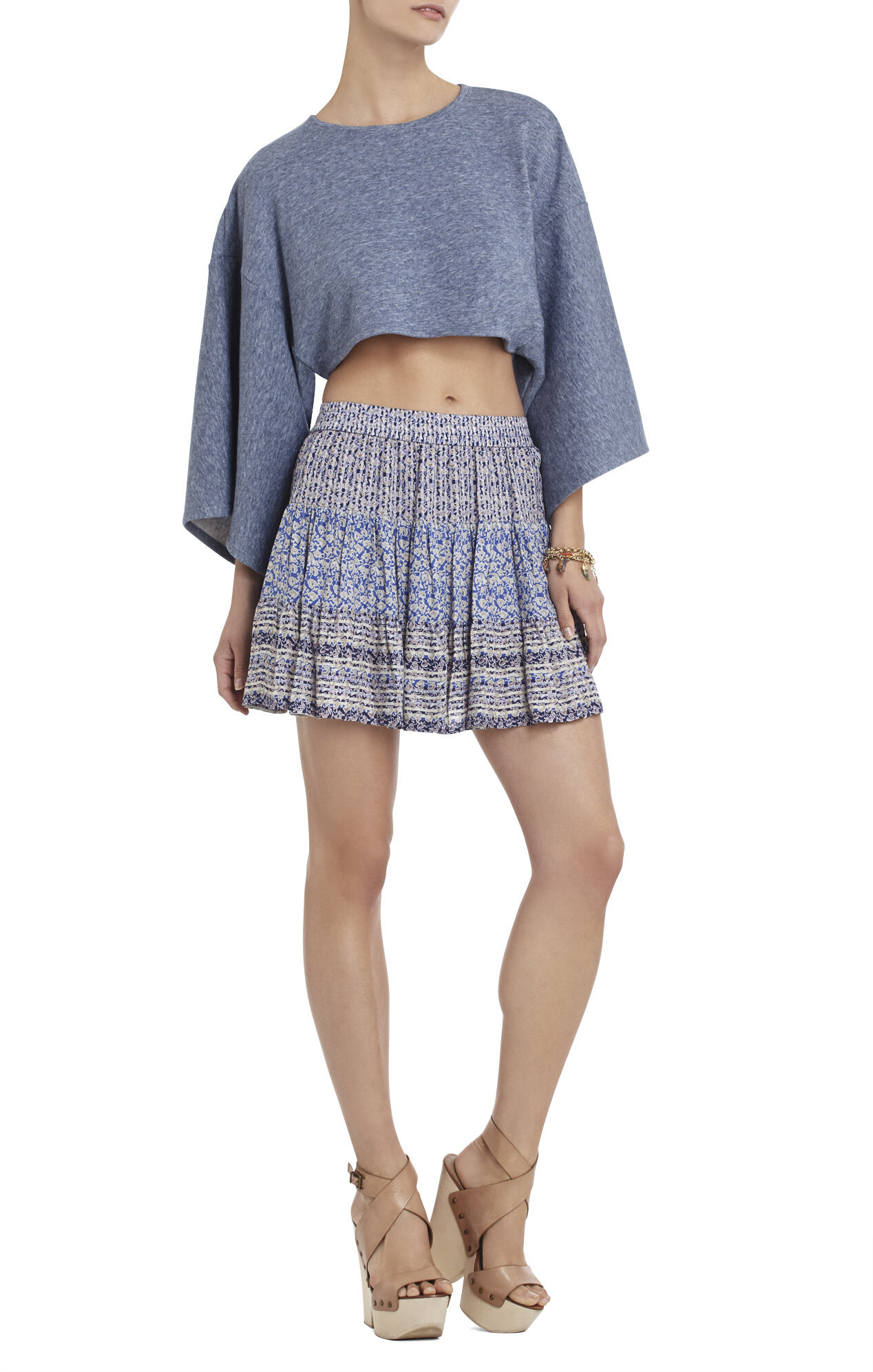 Kerey Kimono-Sleeve Cropped Top