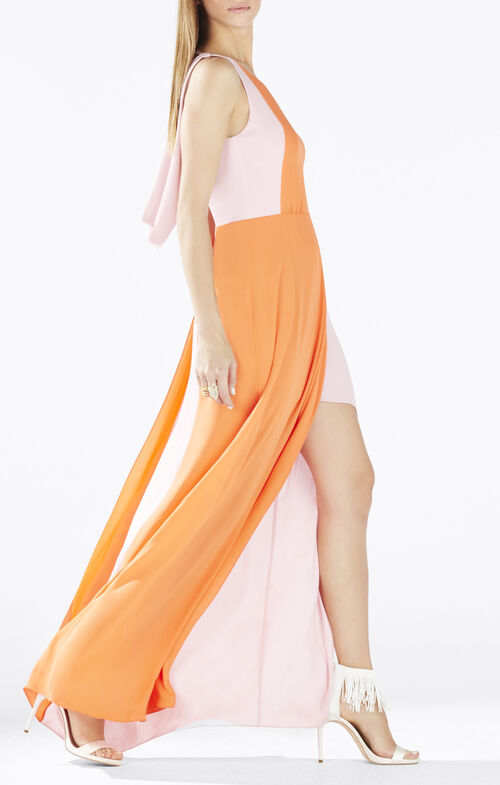 Scarleta Color-Blocked Cowl-Back Gown