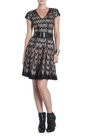 Violet Feather-Cascade Jacquard A-Line Dress