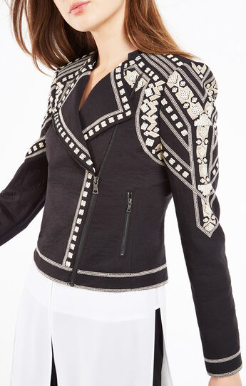 Jaison Geometric Embroidered Moto Jacket