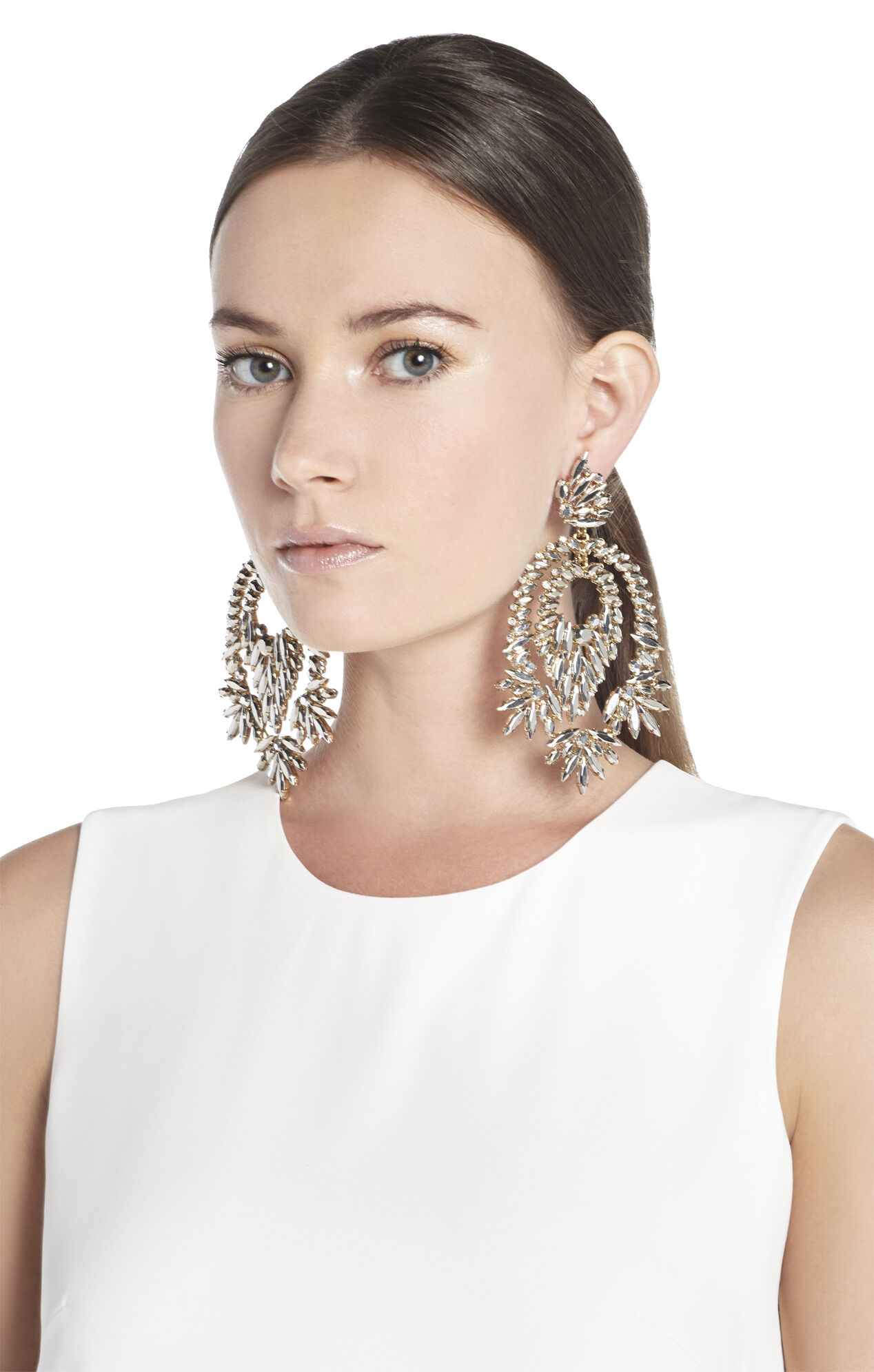 Metallic Stone Statement Earrings