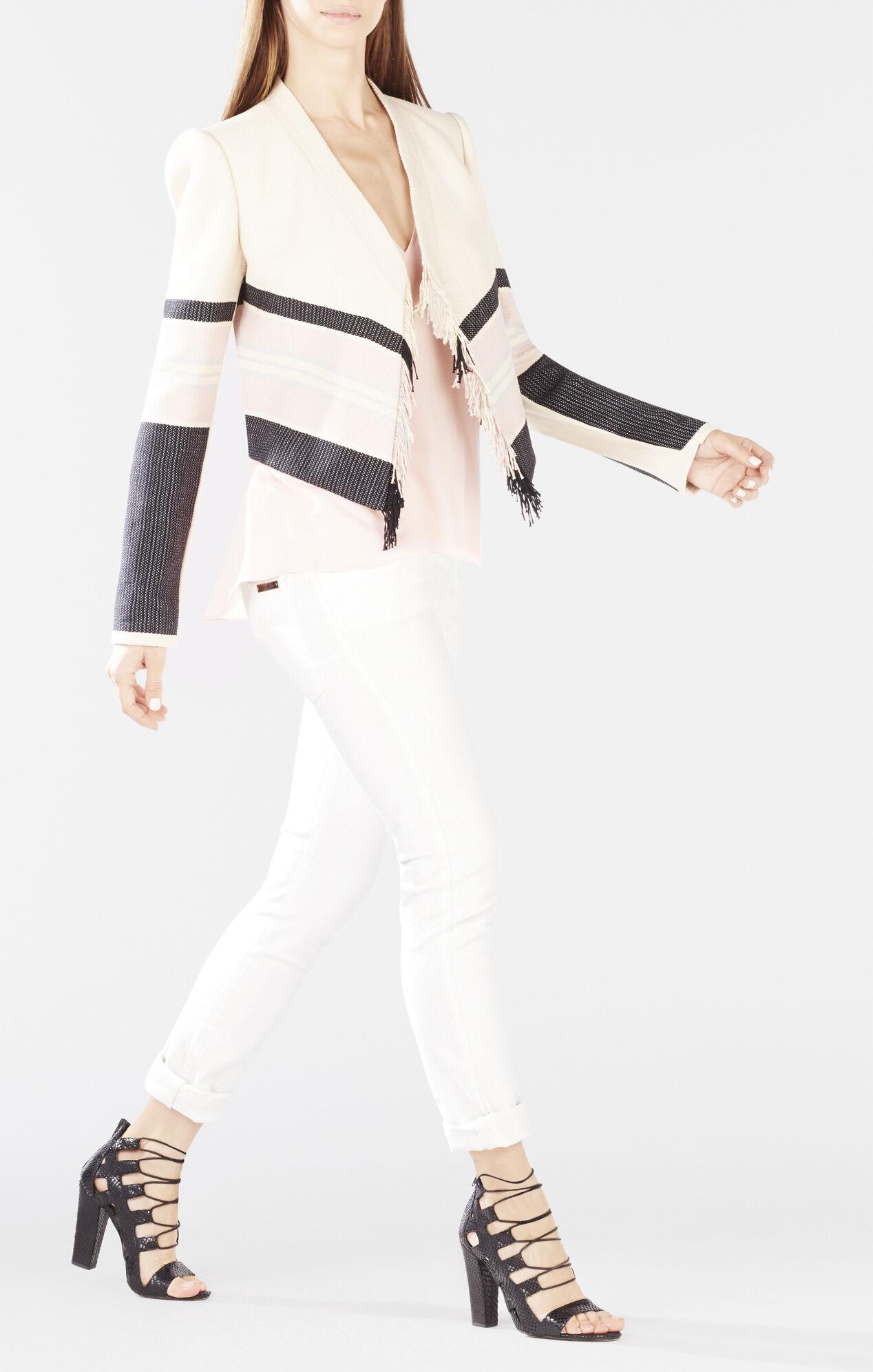 Walker Fringe-Front Woven Jacquard Jacket