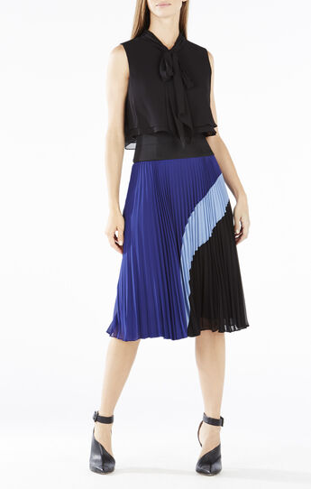 Linnette Color-Blocked Pleated Dress