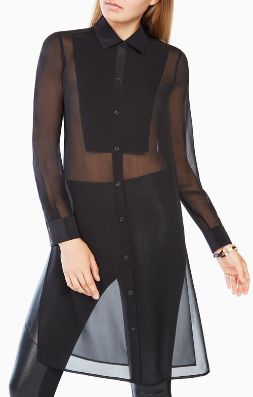Taylur Long-Sleeve Silk Top