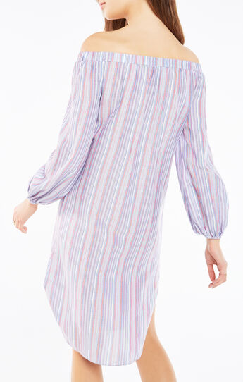 Lyndsie Off-The-Shoulder Striped Dress