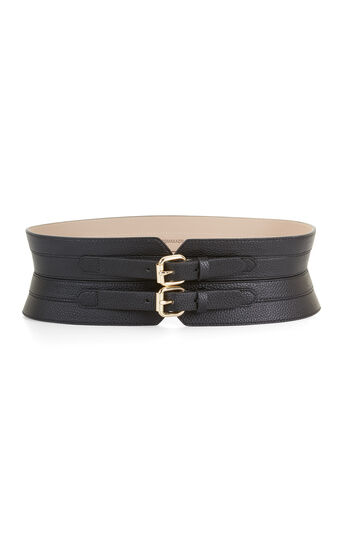 Faux-Leather Contour Waist Belt