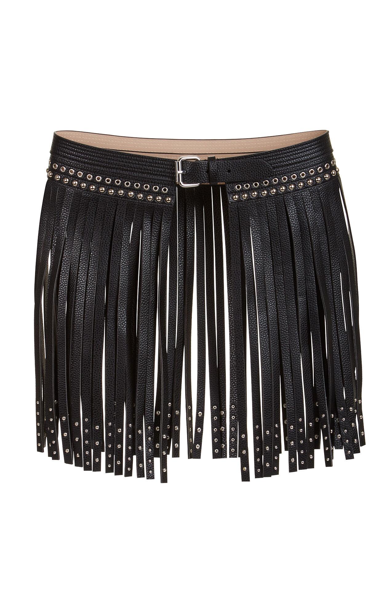 fringe studded faux leather waist belt