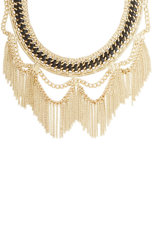 Woven Chain Fringe Necklace
