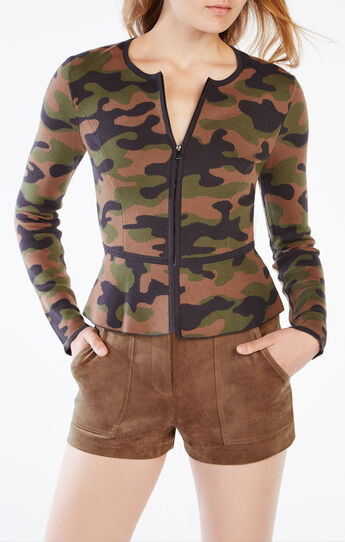 Atticus Camouflage Peplum Sweater