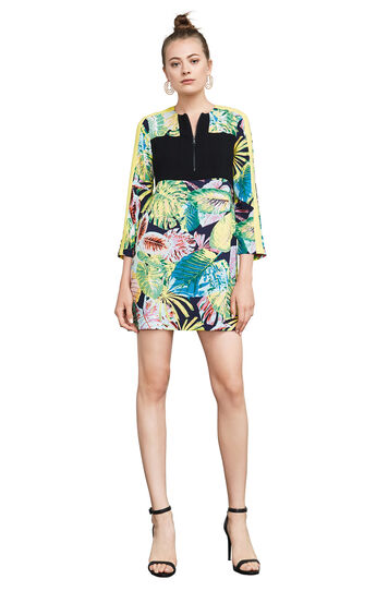 Gabryelle Tropical Print-Blocked Tunic Dress