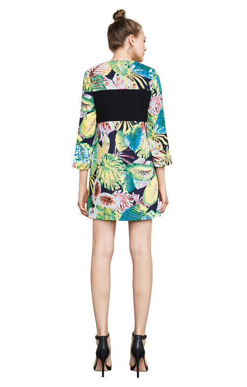 Gabryelle Tropical Print-Blocked Tunic Dress