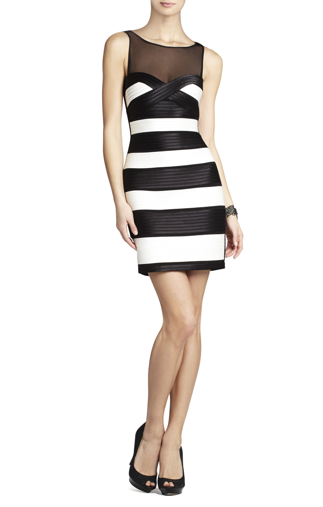 Mara Fitted Dress With Color-Blocked Strapping