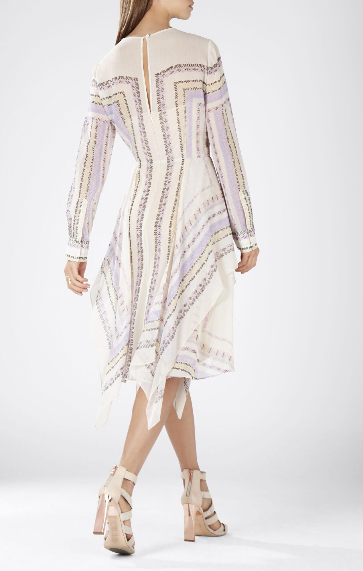 Briget Long-Sleeve Handkerchief Skirt Dress