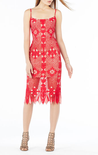 Alese Asymmetrical Geometric Lace Dress