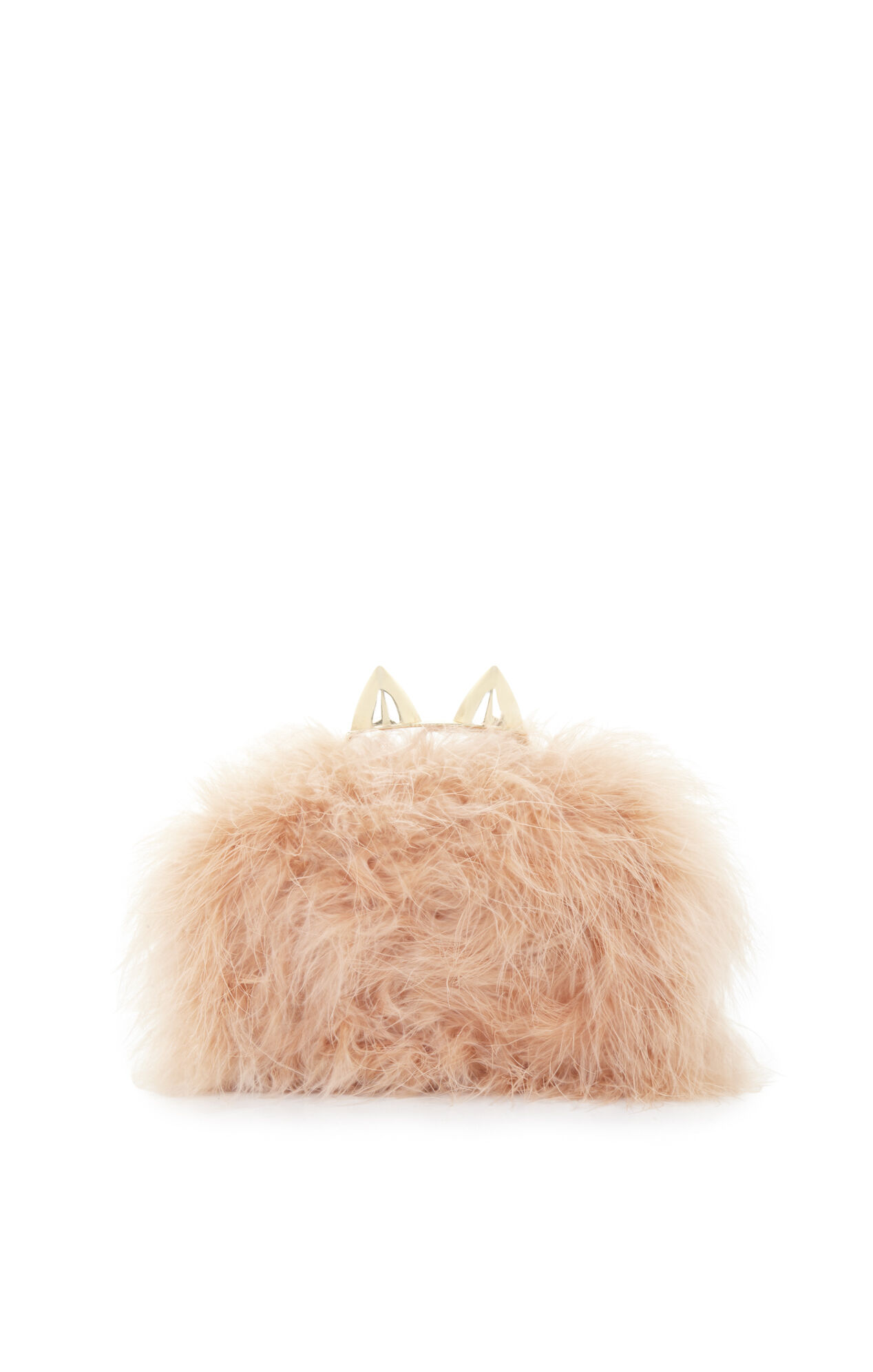 Mila Cat Ear Ostrich Feather Knuckle-Duster Clutch