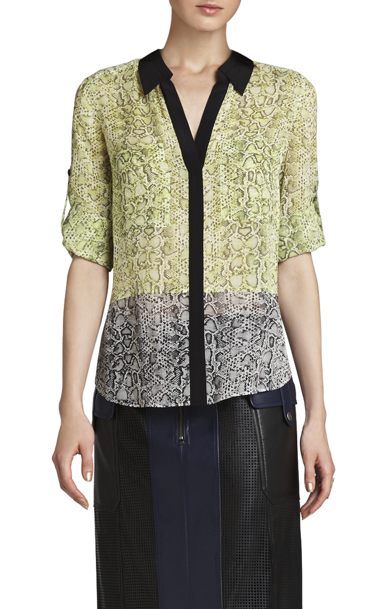 Sadie Silk Print-Blocked Shirt