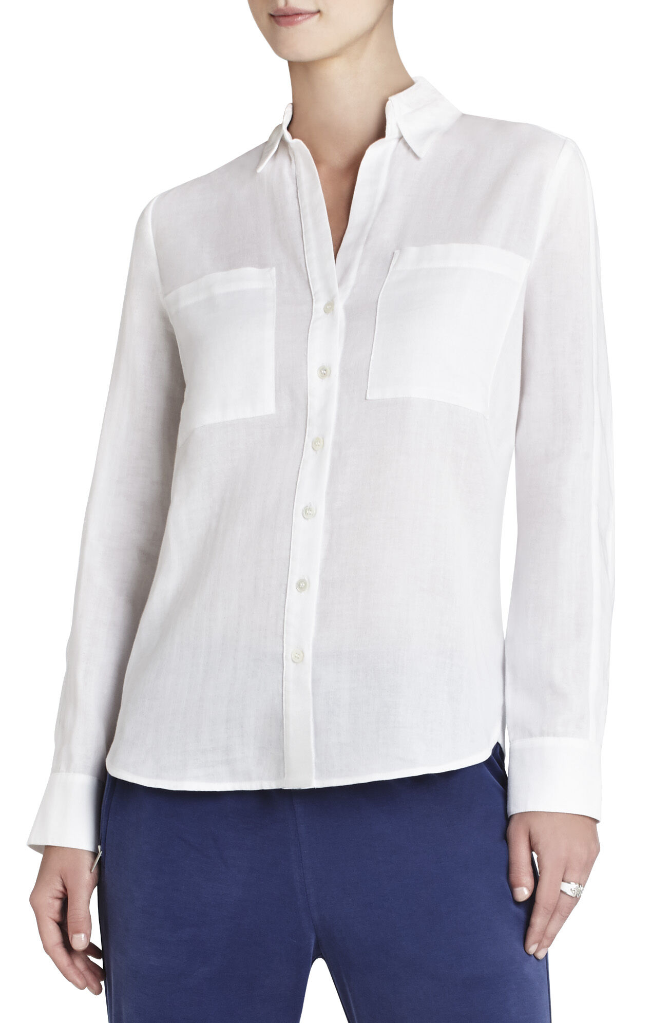 Leony Long-Sleeve Stitched-Collar Shirt