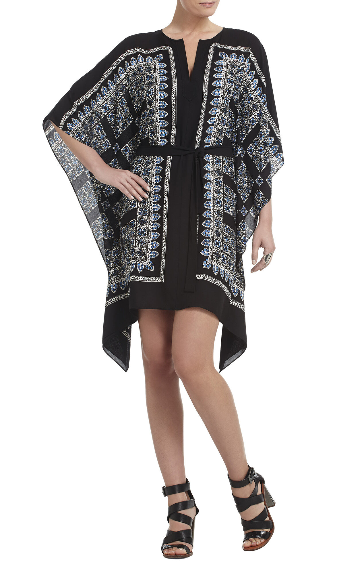 Inessa Printed Ruffled Kaftan Dress