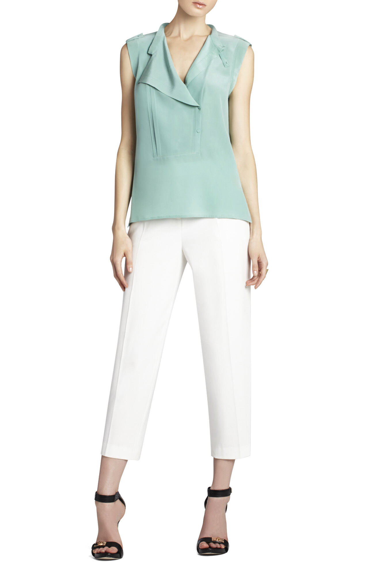 Kori Sleeveless Silk Top With Bib