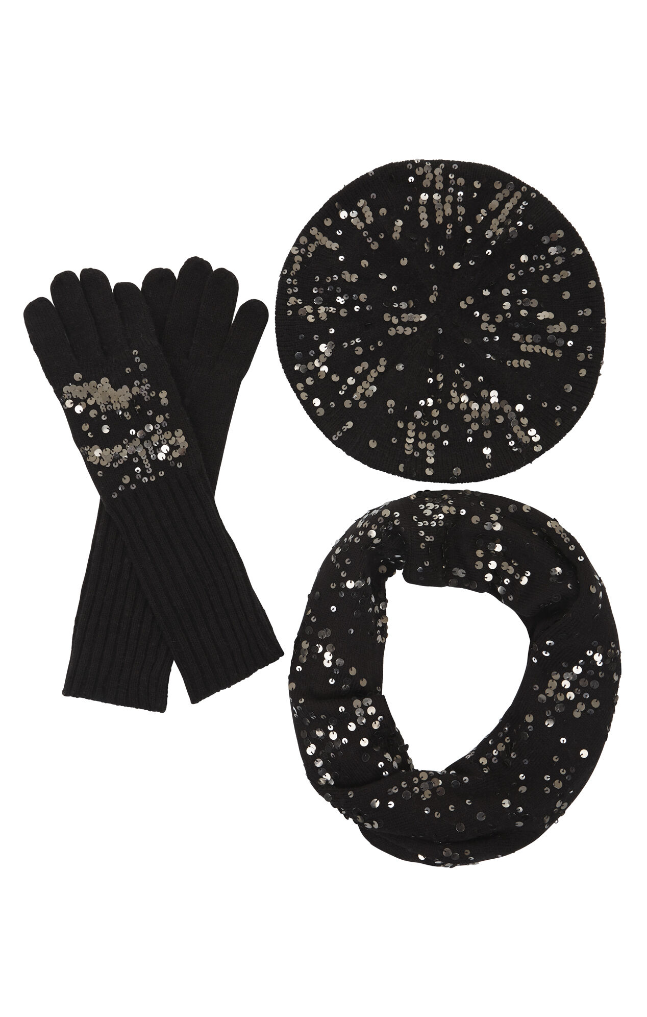 Sequined Scarf, Glove and Beanie Set