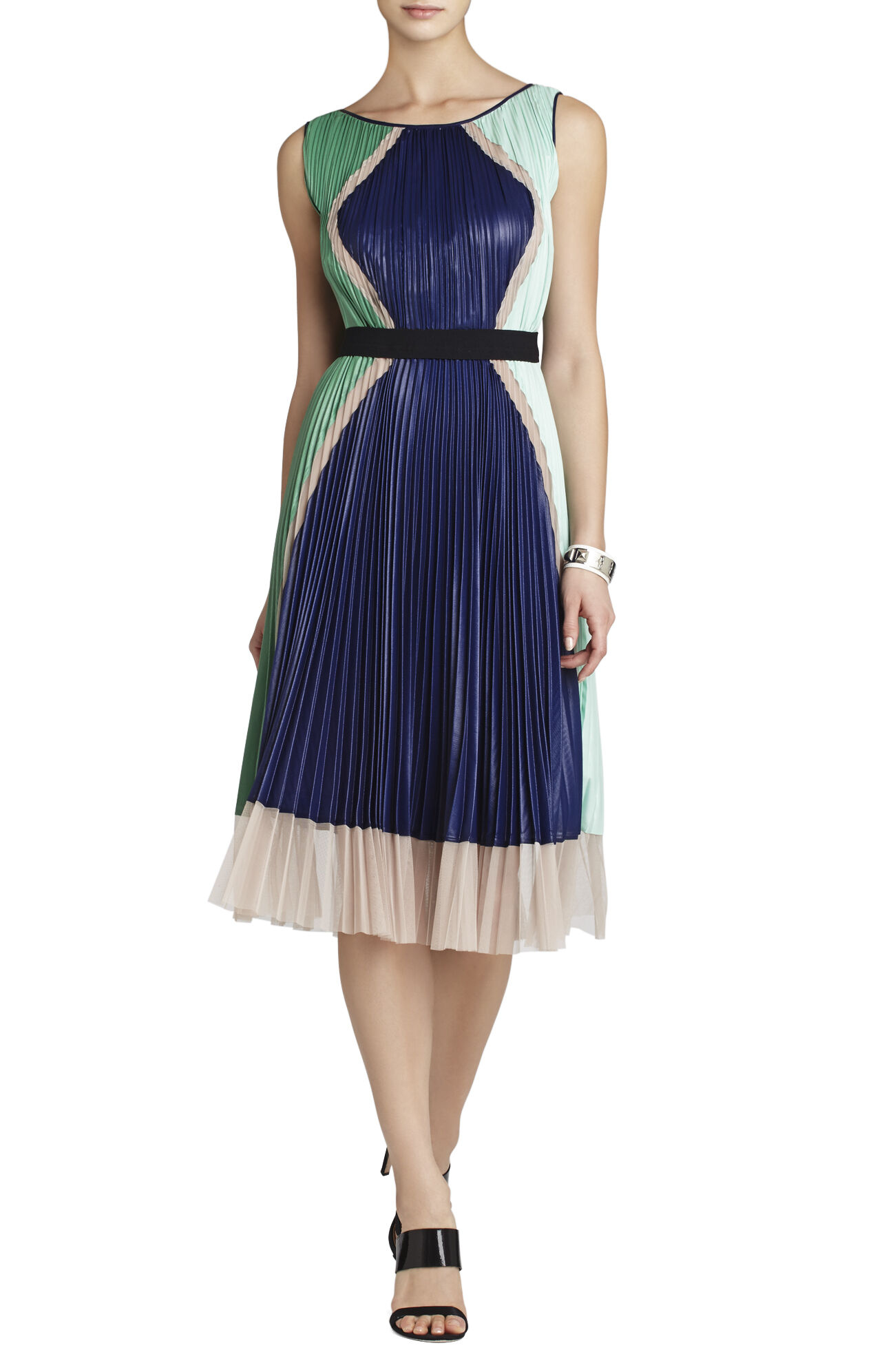 Kabrina Pleated Color-Blocked Dress