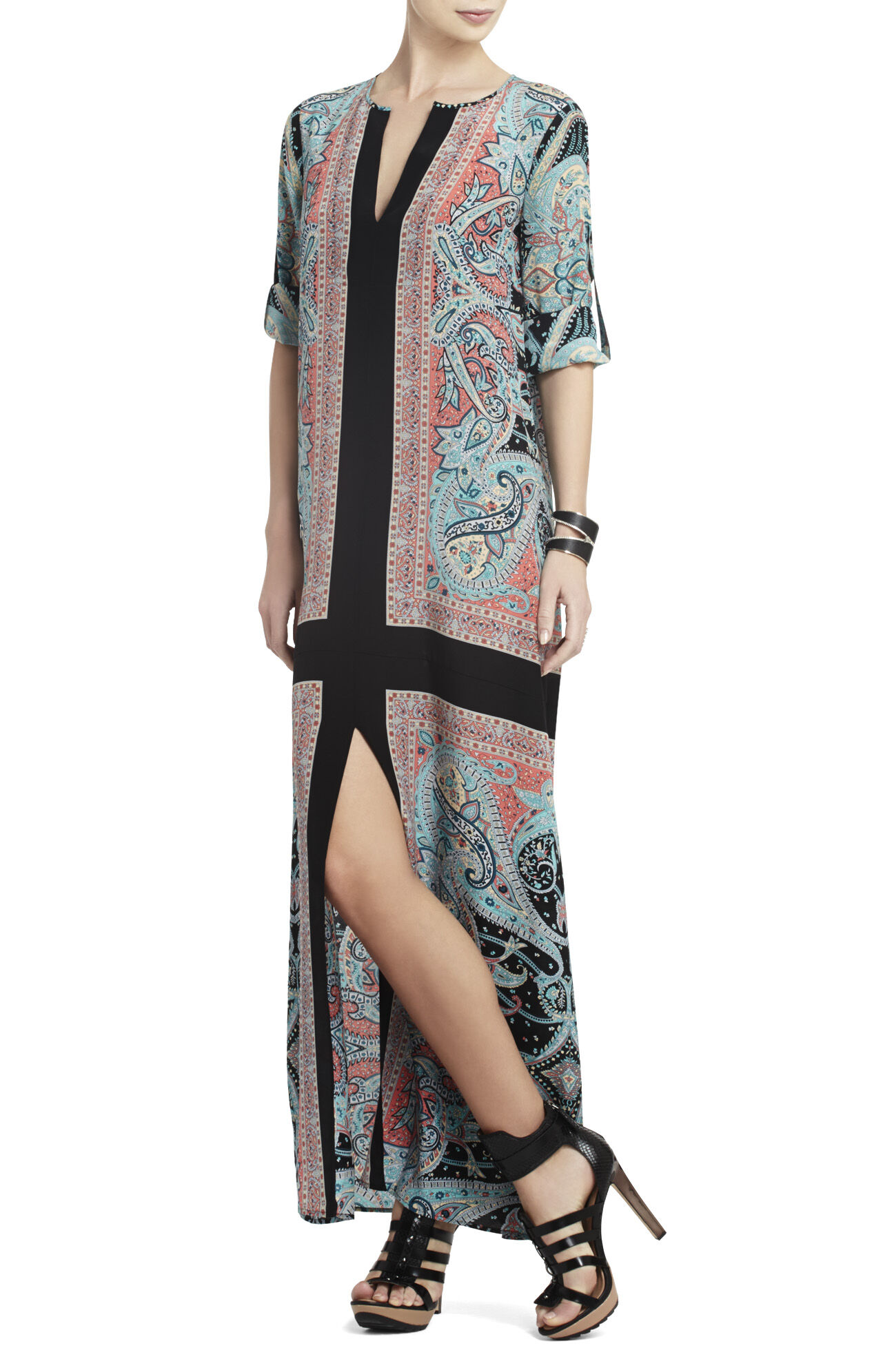 Olivia Scarf-Print Silk Tunic Dress