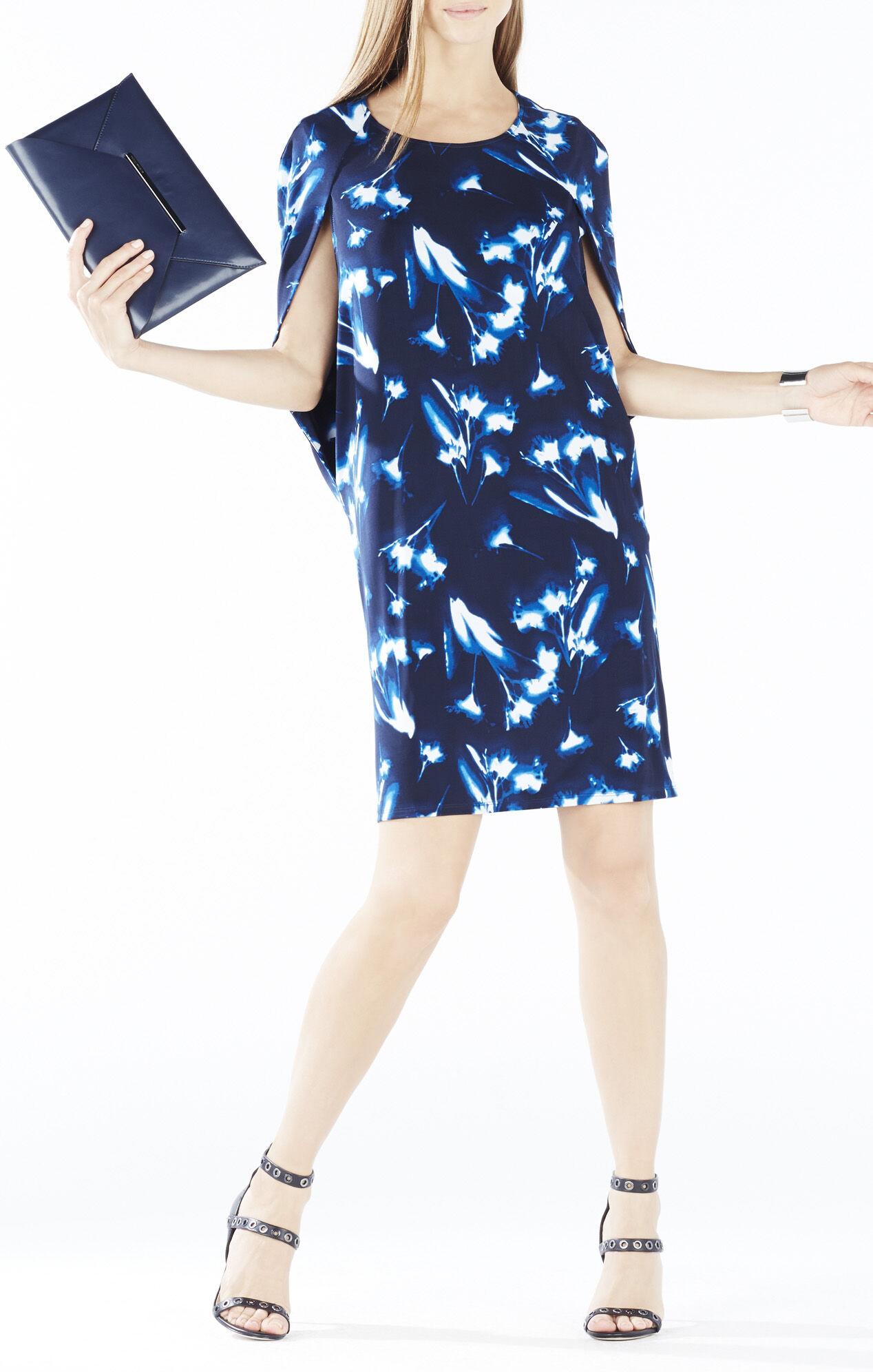 Jordynn X-Ray Floral Print Cape Dress