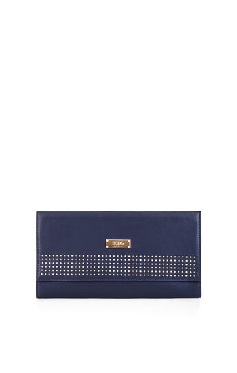 Studded Faux-Leather Clutch