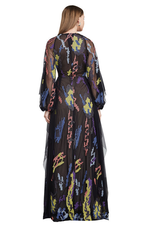 Carine Abstract Embroidery Gown