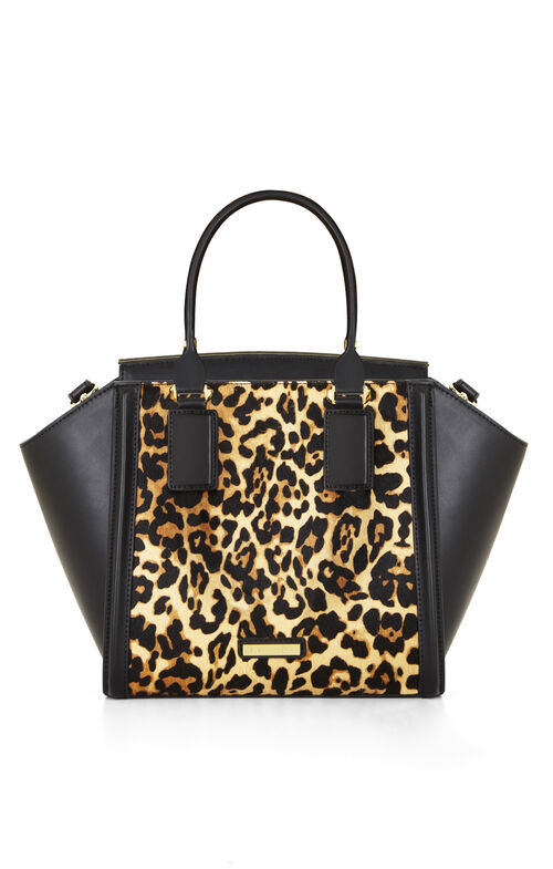 Joselyn Curved Bar Cheetah Print Satchel