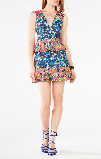 Caron Floral Burnout Print Peplum Dress