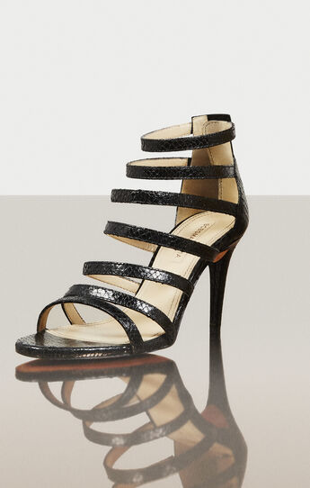 Polina High-Heel Python Print Strappy Sandal
