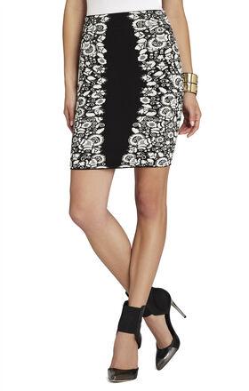 Scarlett Puckering Floral Jacquard Skirt