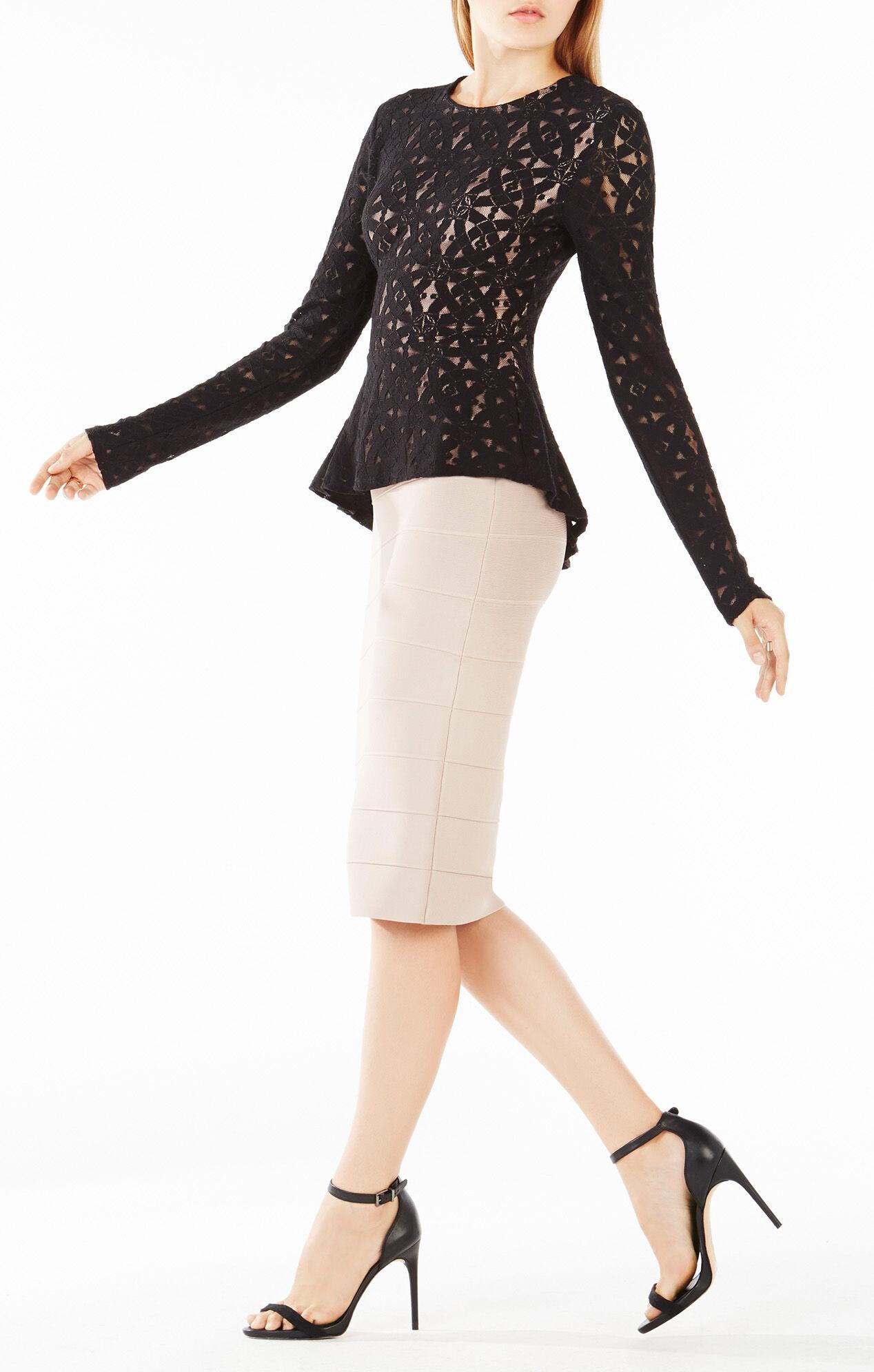 Estelle Long-Sleeve Lace Peplum Top