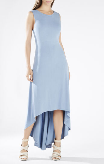 Fara High-Low Twist Open-Back Dress