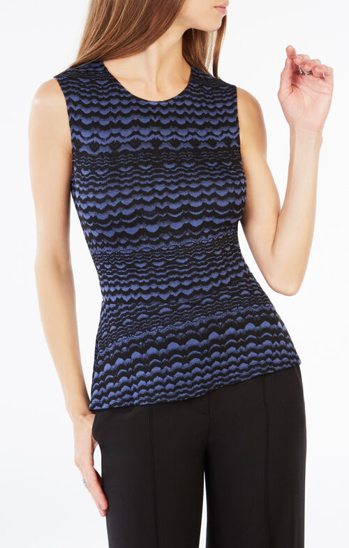 Maribella Striped Knit Jacquard Peplum Top