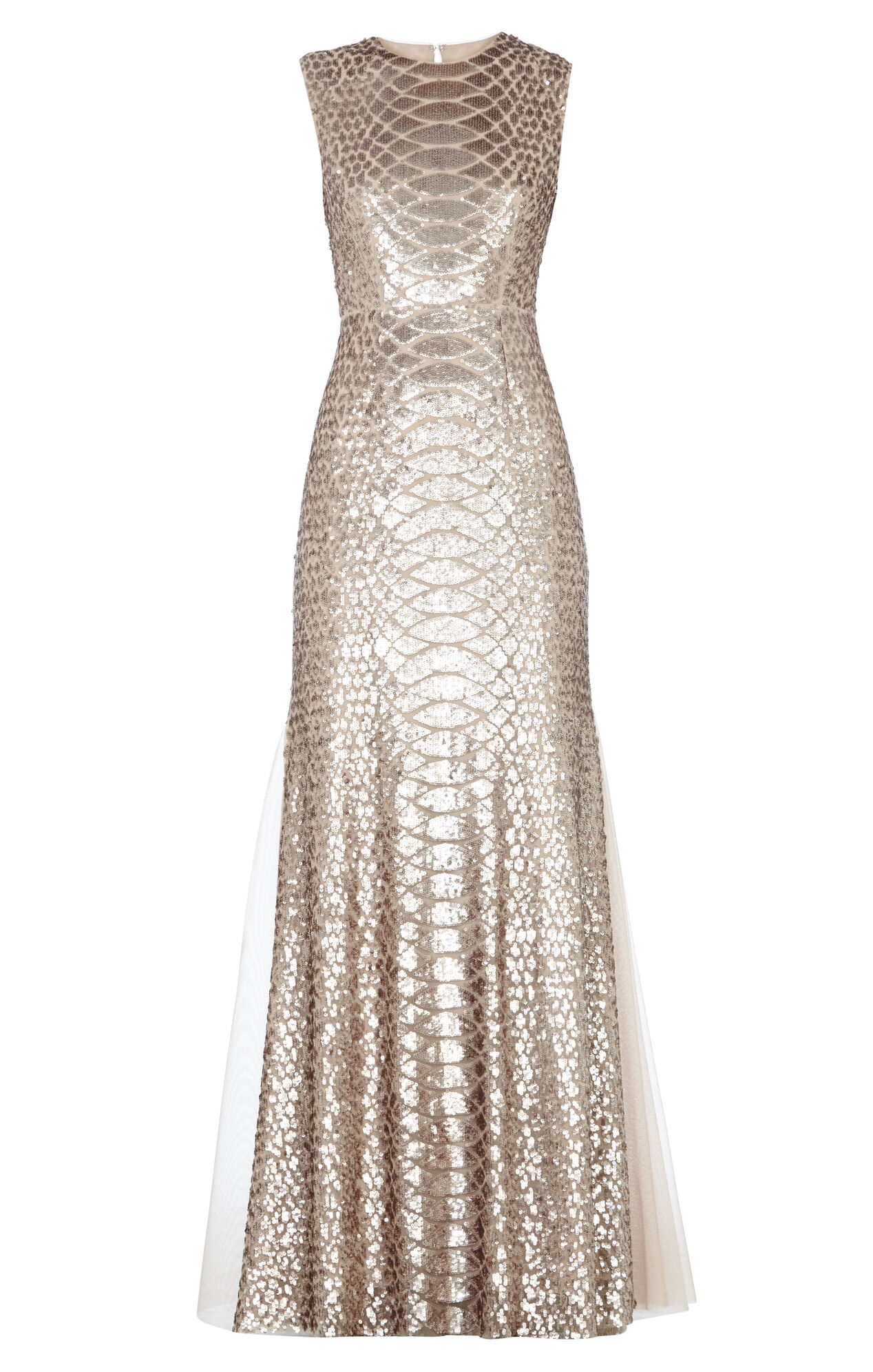 Charlyze Round-Neck Snake Sequined Gown