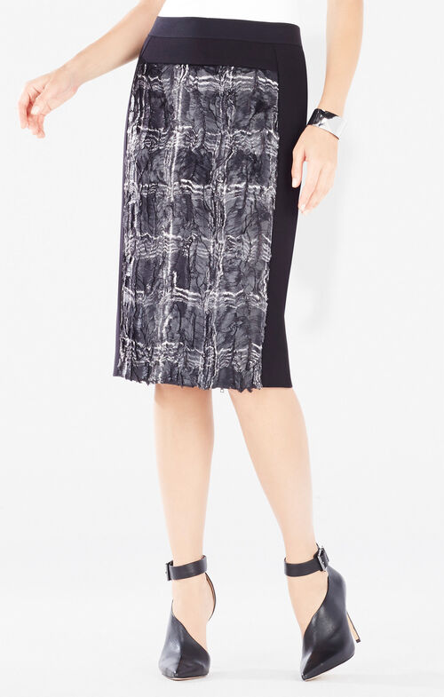 Ines Coated Plaid Faux-Fur Pencil Skirt
