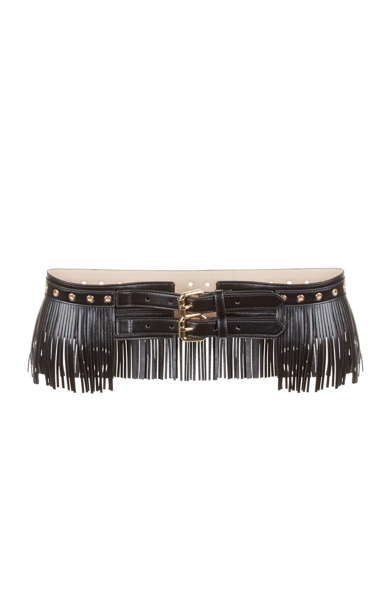 fringe faux leather waist belt