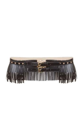 Fringe Faux-Leather Waist Belt