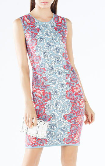 Jose Floral Knit Jacquard Body-Con Dress