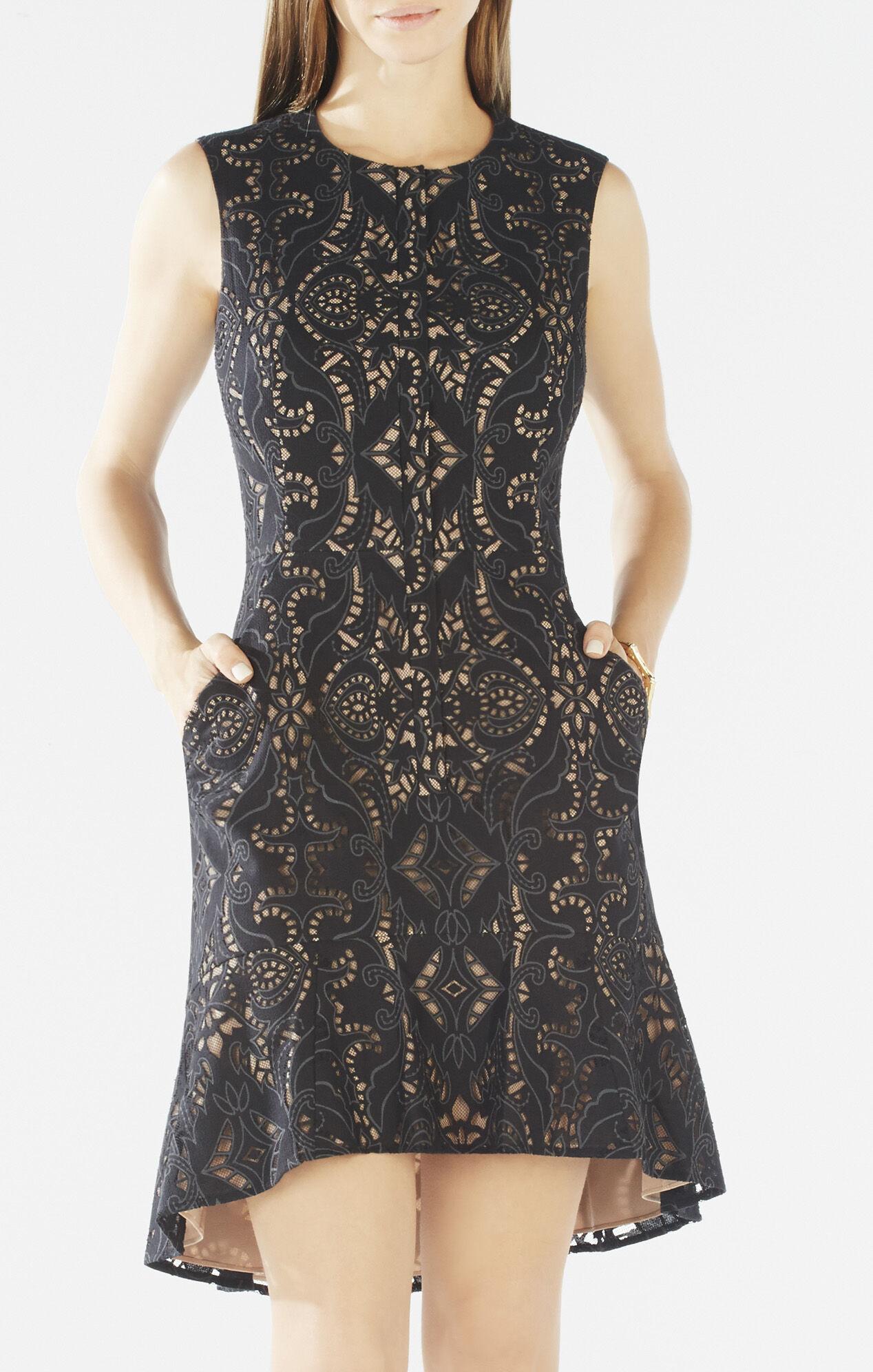 Chrystal Zip-Front Flounce-Hem Lace Dress