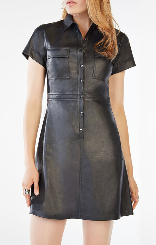 Stephana Faux-Leather Shirt Dress
