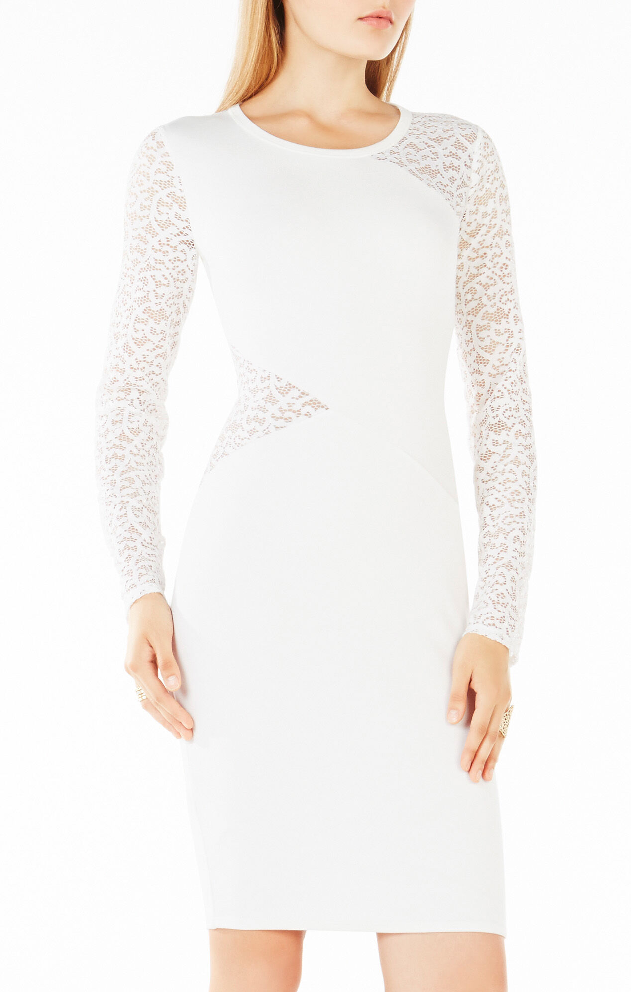 Jorden Lace-Contrast Body-Con Dress