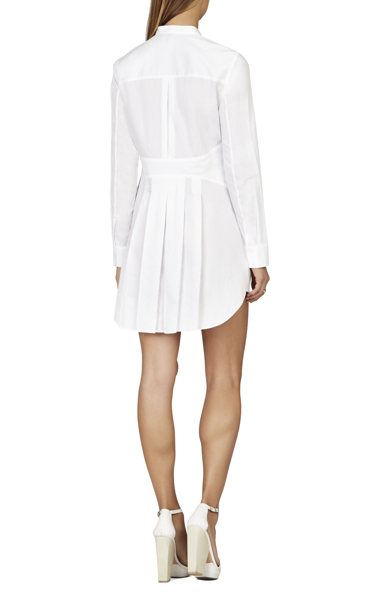 BCBGMAXAZRIA Casie Pleated-Back Tuxedo Shirt Dress | BCBG.com