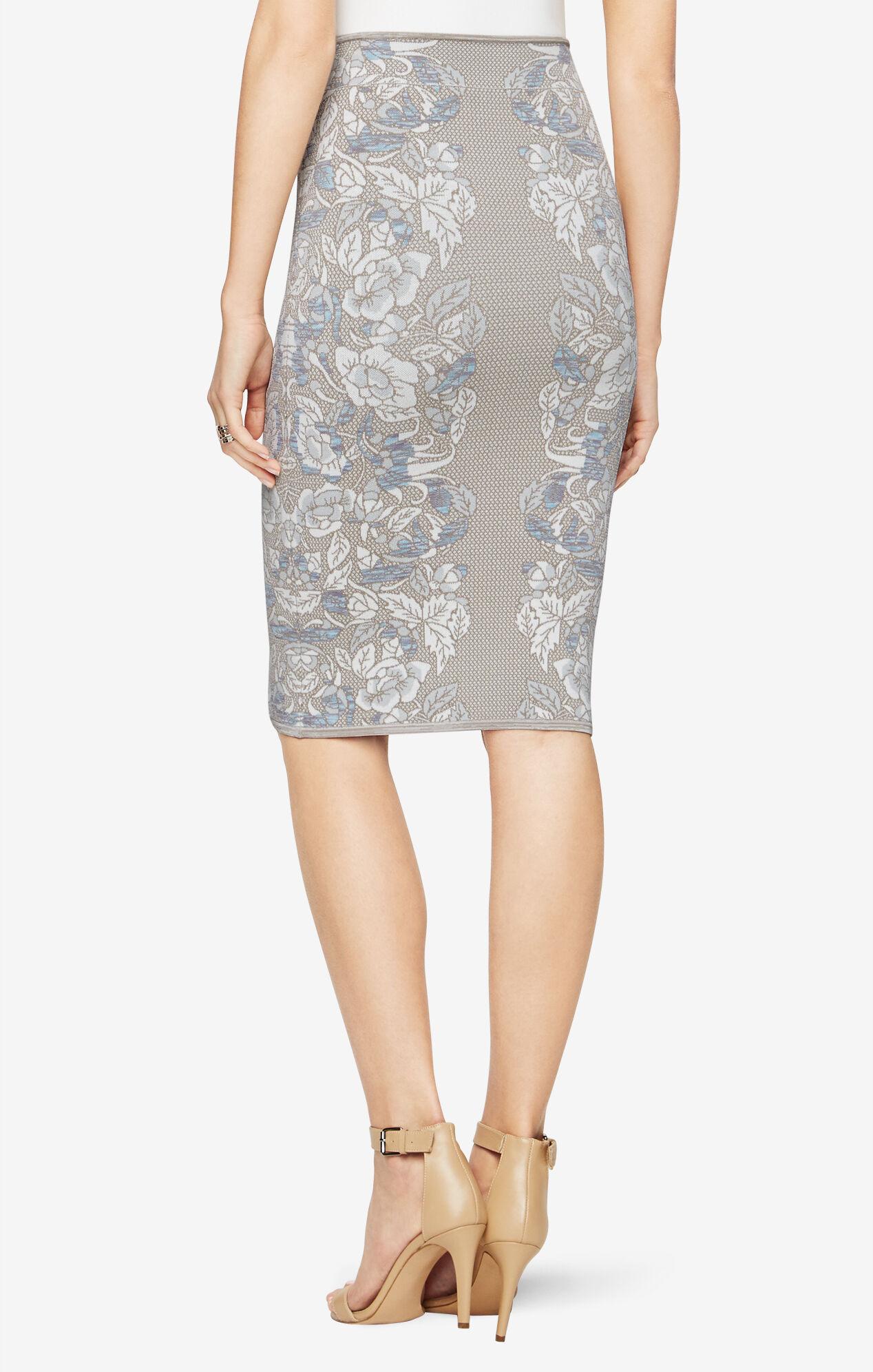 Floral Knit Jacquard Pencil Skirt