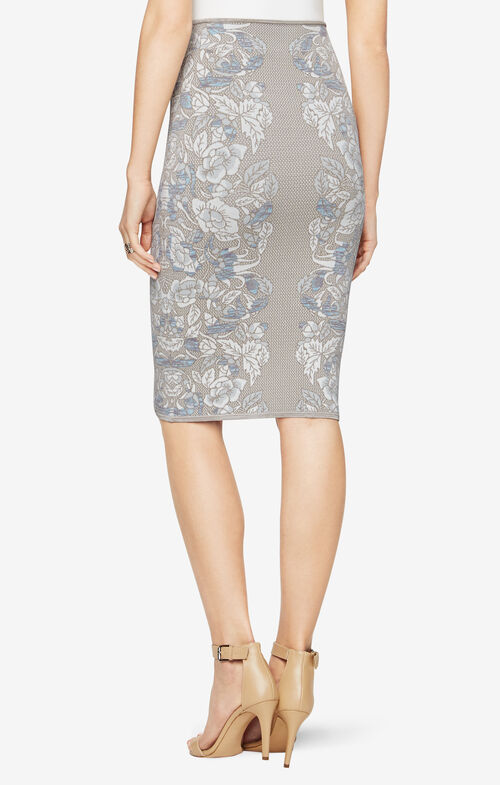 Floral Knit Jacquard Pencil Skirt