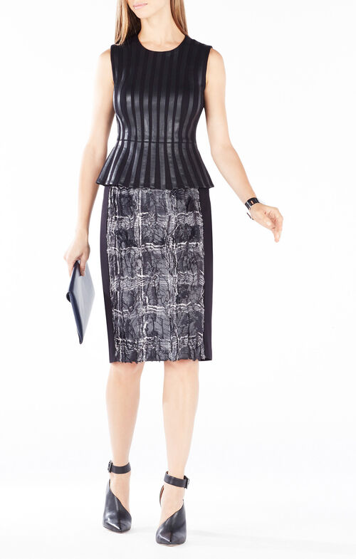 Roland Faux-Leather Striped Peplum Top