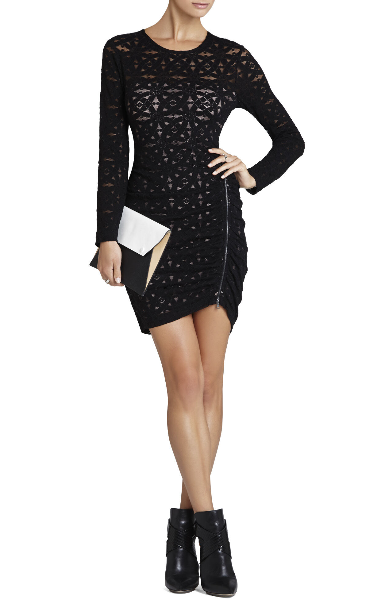 Alesandra Long-Sleeve Side Zipper Dress