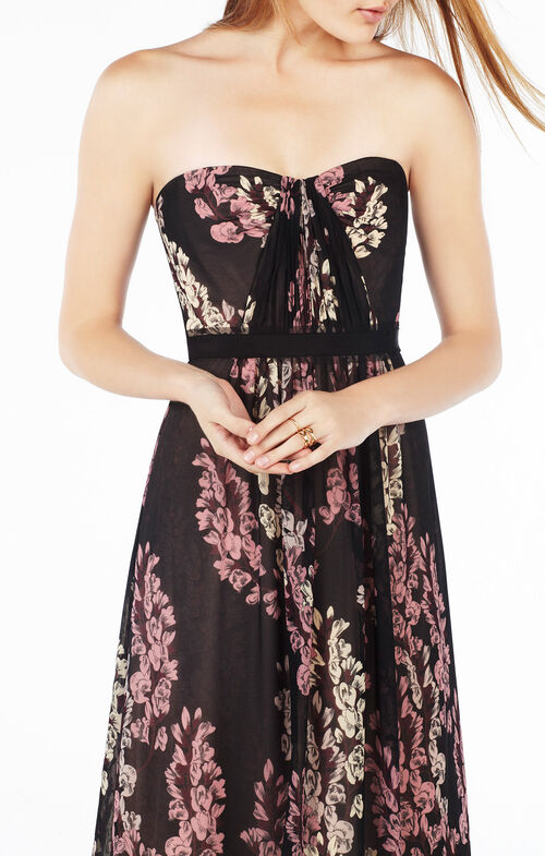 Amber Strapless Floral Print Gown